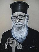 Black Pastels Framed Prints - Cypriot Priest Framed Print by Anastasis  Anastasi