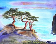 Cyprus Trees On California Coast Print by Susan  Clark
