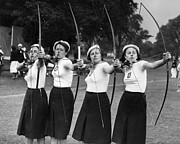 Mid Adult Women Posters - Czech Archers Poster by Reg Speller