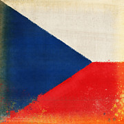 Antique Map Photos - Czech Republic flag by Setsiri Silapasuwanchai