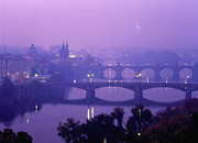 Charles Bridge Prints - Czech Republic, Prague, Vltava River, Elevated View Print by Chad Ehlers