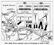 Allies Photos - D-day, Map Detailing Allies Invasion by Everett