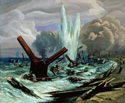 Explosion Painting Posters - D Day Poster by Orville Norman Fisher