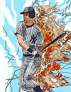Mlb Mixed Media - D-J on Fire   by Joe Welsh