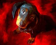 Dachshund Paintings - Dachschund Love by Jai Johnson