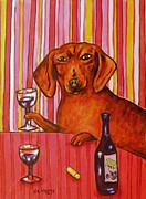 Dachshund Art Paintings - Dachshund at the Wine Bar by Jay  Schmetz
