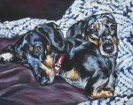 Dachshund Paintings - Dachshund couple by Lee Ann Shepard