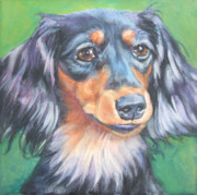 Black And Tan Prints - Dachshund long haired Print by Lee Ann Shepard