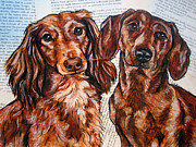 Two Dachshunds  Painting Originals - Dachshund Longhaired and Smooth Coat by Christas Designs