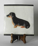 Dog Sculptures - Dachshund Trivet by Suzanne Schaefer