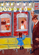Uptown Painting Posters - Dad and Me on the El Poster by Elzbieta Zemaitis