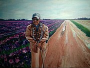 Washington State Skagit County Paintings - Dad at La Conner by J Reynolds Dail