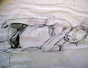 Iris Gill Drawings Posters - Dad Sleeping Poster by Iris Gill