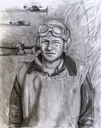 Greatest Generation Drawings Posters - Dad WW2 Poster by Jack Skinner