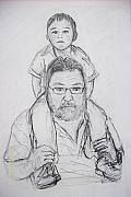 Father And Son Drawings - Daddys Boy by Wale Adeoye