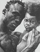 African American Drawings Originals - Daddys Home by Curtis James