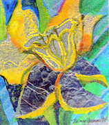 Flower Design Mixed Media Framed Prints - Daffodil Abstract Framed Print by Mindy Newman
