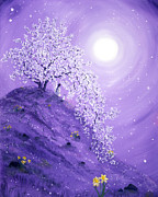 Cherry Blossoms Painting Originals - Daffodil Dawn Meditation by Laura Iverson