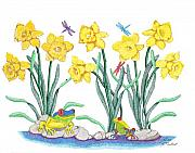 Dragonflies Drawings - Daffodil Parade by Judy Cheryl Newcomb