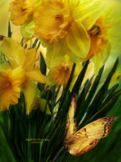 Giclee Mixed Media - Daffodils - First Flower Of Spring by Carol Cavalaris
