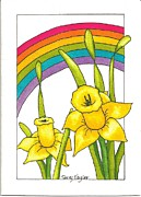 Invitations Paintings - Daffodils and Rainbows by Terry Taylor