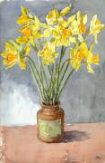Trumpet Paintings - Daffodils in a pot. by Mike Lester