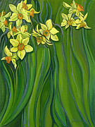 Jane Wilcoxson Art Painting Prints - Daffodils Print by Jane Wilcoxson