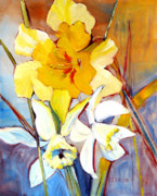 Daffodils Painting Metal Prints - Daffodils Metal Print by Peggy Wilson