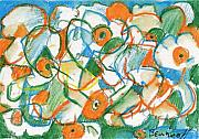 Oranges Drawings - Daffodils Rearranged by Jan Bennicoff