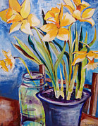 Suzanne Willis Metal Prints - Daffodils Metal Print by Suzanne Willis