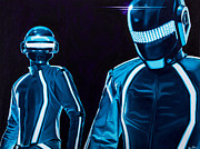 Fan Art Painting Originals - Daft Punk by Ellen Patton
