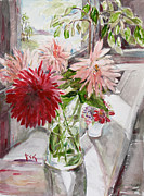 Becky Kim Painting Metal Prints - Dahlias Metal Print by Becky Kim