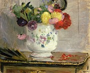 Impressionist Vase Floral Paintings - Dahlias by Berthe Morisot
