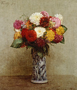 Dahlias Framed Prints - Dahlias in a Chinese Vase Framed Print by Ignace Henri Jean Fantin-Latour
