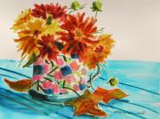 Warm Tones Drawings - Dahlias in a Painted Cup by John  Williams