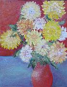 Peg Bachenheimer - Dahlias in a Red Vase