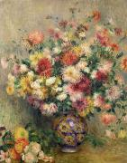 Impressionist Vase Floral Paintings - Dahlias by Pierre Auguste Renoir