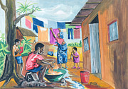 Townscapes Drawings - Daily Life in Africa by Emmanuel Baliyanga