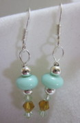Silver Turquoise Jewelry - Dainty Turquoise and Amber Dangle Earrings by Janet  Telander