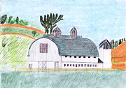 Old Barn Drawings - Dairy Barn by John Hoppy Hopkins
