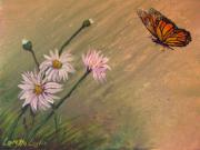 Daisies Drawings Prints - Daisies and Butterfly Print by Loretta Luglio