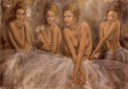 Figurative Prints - Daisies and doubts Print by Dorina  Costras