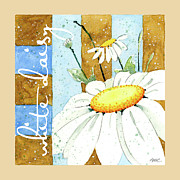 Blues Greeting Cards Posters - Daisies and Stripes Poster by Ann Troe