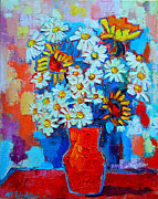 Red White And Blue Paintings - Daisies And Sunflowers by Ana Maria Edulescu