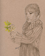 Pencil Drawing Pastels Prints - Daisies Print by Flo Hayes