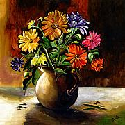 Vibrant Paintings - Daisies From My Garden by Sweta Prasad