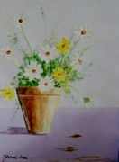Terra Paintings - Daisies in Pot by Jamie Frier