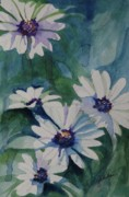 Drippy Painting Prints - Daisies In The Blue Print by Gretchen Bjornson