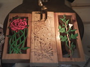Black Top Pyrography - Daisies Ivy Roses No2 Ivy done by Timothy Wilkerson