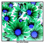 Negative Effect Posters - Daisies Negative Inverted Effect Poster by Rose Santuci-Sofranko